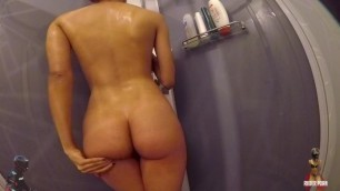 How a Hot Slut take Care of her Body during a Shower (milking her Tits)