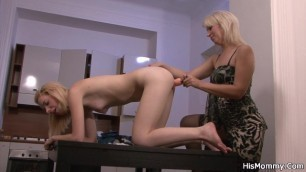 Blonde Mom Toying Teen Pussy from behind