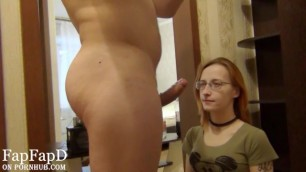 Redhead Teen in Choker and Glasses make a Blowjob for me